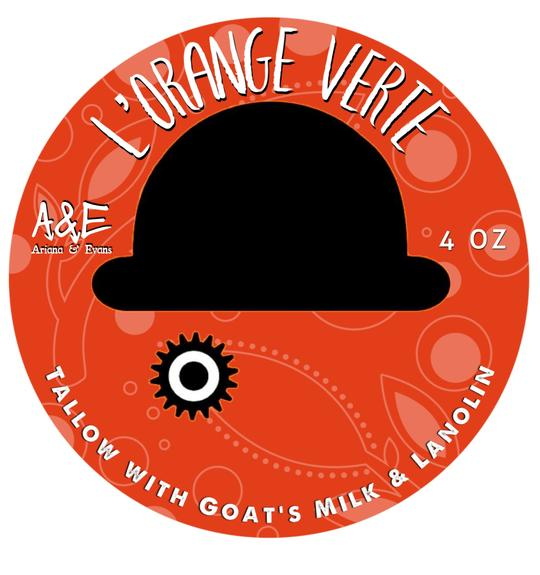 ARIANA & EVANS GOAT'S MILK AND LANOLIN SHAVING SOAP, L'ORANGE VERTE