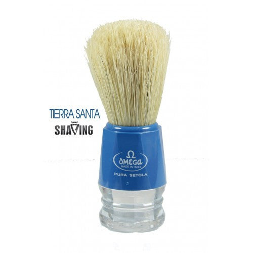 Omega 10018 Shaving Brush, Blue/Clear Handle, Natural Boar Bristle