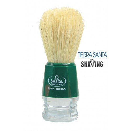 Omega 10018 shaving brush, green/clear handle, natural boar bristle