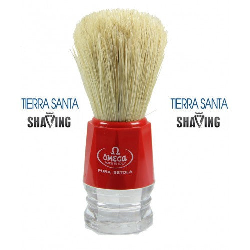 Omega 10018 shaving brush, red/clear handle, natural boar bristle