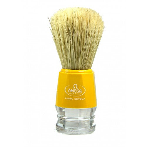 Omega 10018 shaving brush, yellow/clear handle, natural boar bristle