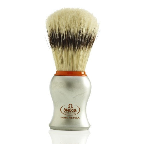 Omega 11573 Shaving Brush  Boar Banded Stunning Orange Accented Matte Silver