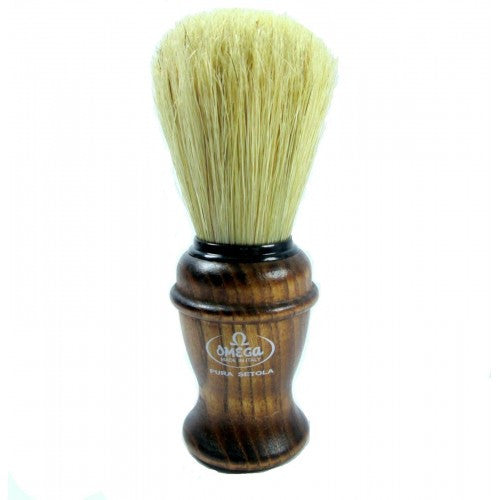Omega 11137 Shaving Brush Boar Bristle Classy Ashwood Handle
