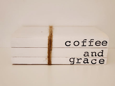 """coffee and grace"" book stack"