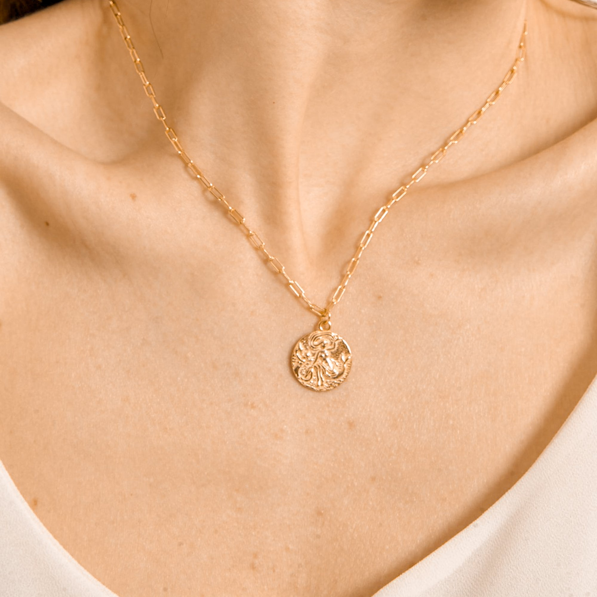 MERMAID COIN MEDALLION NECKLACE - 18K GOLD VERMEIL