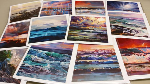 Pack Of 10 Mixed Colour Greeting Cards - Contemporary art from Ireland. Paintings & prints by Irish seascape & landscape artist Kevin Lowery.
