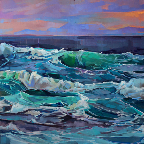 Creevy, Storm Emma II - Pack Of 10 Greeting Cards - Contemporary art from Ireland. Paintings & prints by Irish seascape & landscape artist Kevin Lowery.