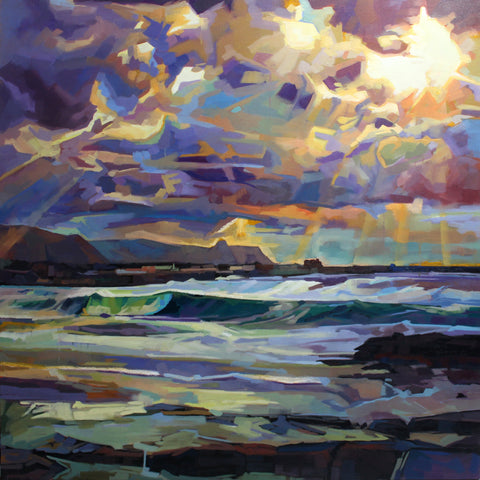 Main Beach, Bundoran, Storm Emma - Contemporary art from Ireland. Paintings & prints by Irish seascape & landscape artist Kevin Lowery.