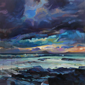 Mermaid's Cove, Storm Fionn - Contemporary art from Ireland. Paintings & prints by Irish seascape & landscape artist Kevin Lowery.
