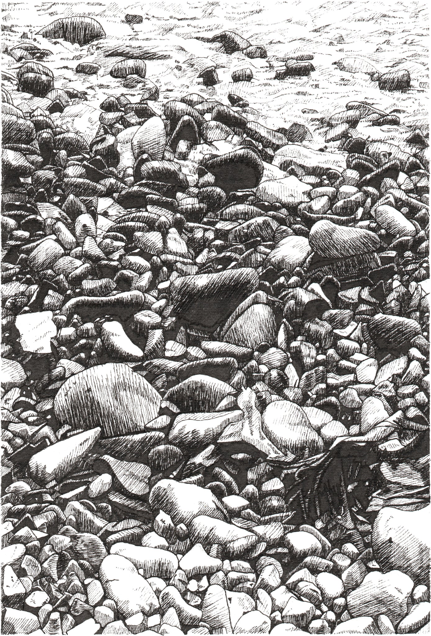 Pebbles Near Raughly Harbour - Limited Edition Print - Contemporary art from Ireland. Paintings & prints by Irish seascape & landscape artist Kevin Lowery.