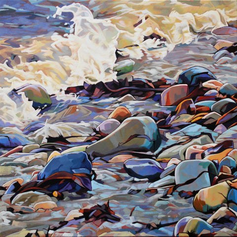 Pebbles At Cregg II - Contemporary art from Ireland. Paintings & prints by Irish seascape & landscape artist Kevin Lowery.