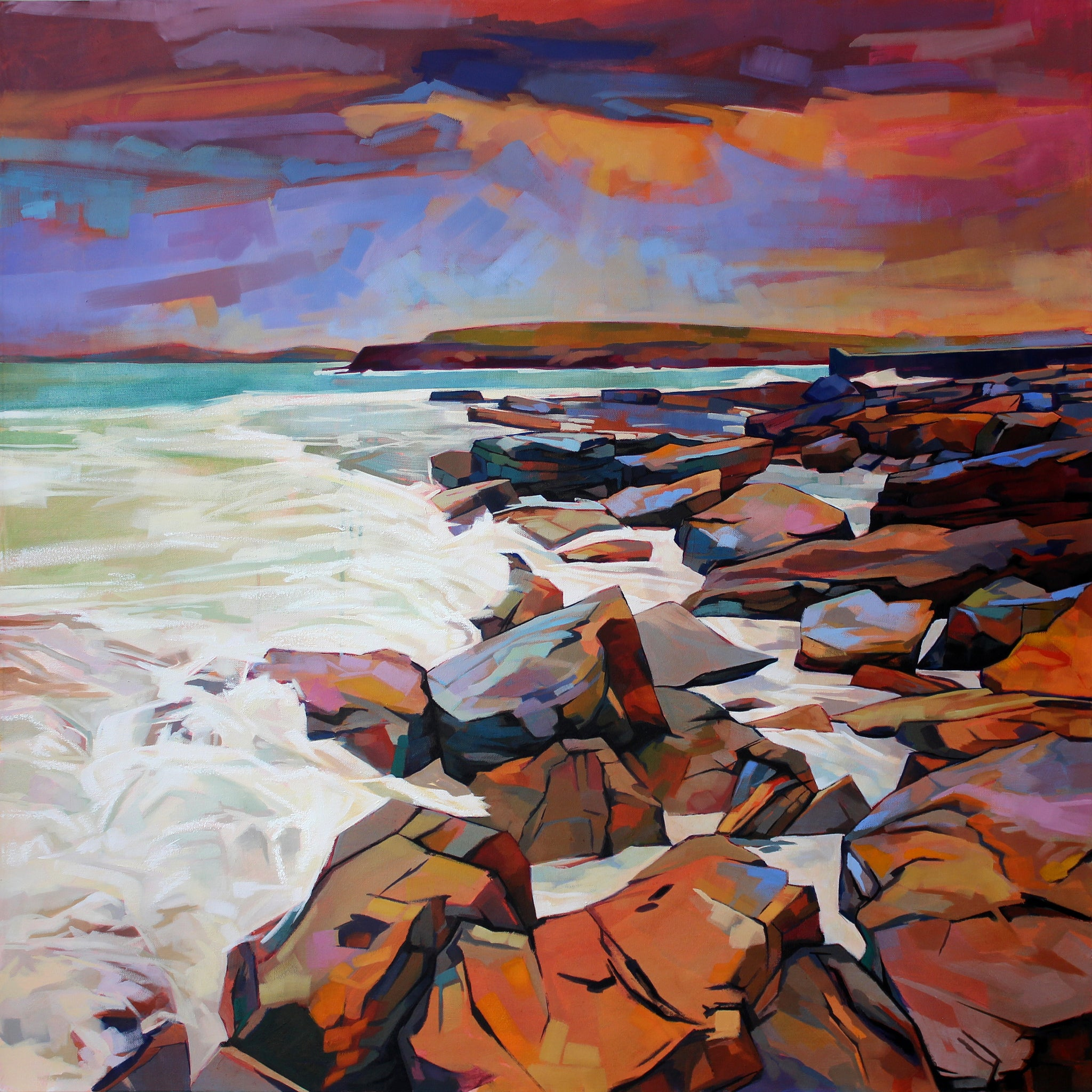 Rocks At Creevy - Contemporary art from Ireland. Paintings & prints by Irish seascape & landscape artist Kevin Lowery.