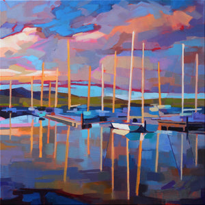 Sailboats At Dingle - Pack Of 10 Greeting Cards - Contemporary art from Ireland. Paintings & prints by Irish seascape & landscape artist Kevin Lowery.