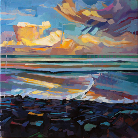 Streedagh Beach, Storm Fionn - Contemporary art from Ireland. Paintings & prints by Irish seascape & landscape artist Kevin Lowery.