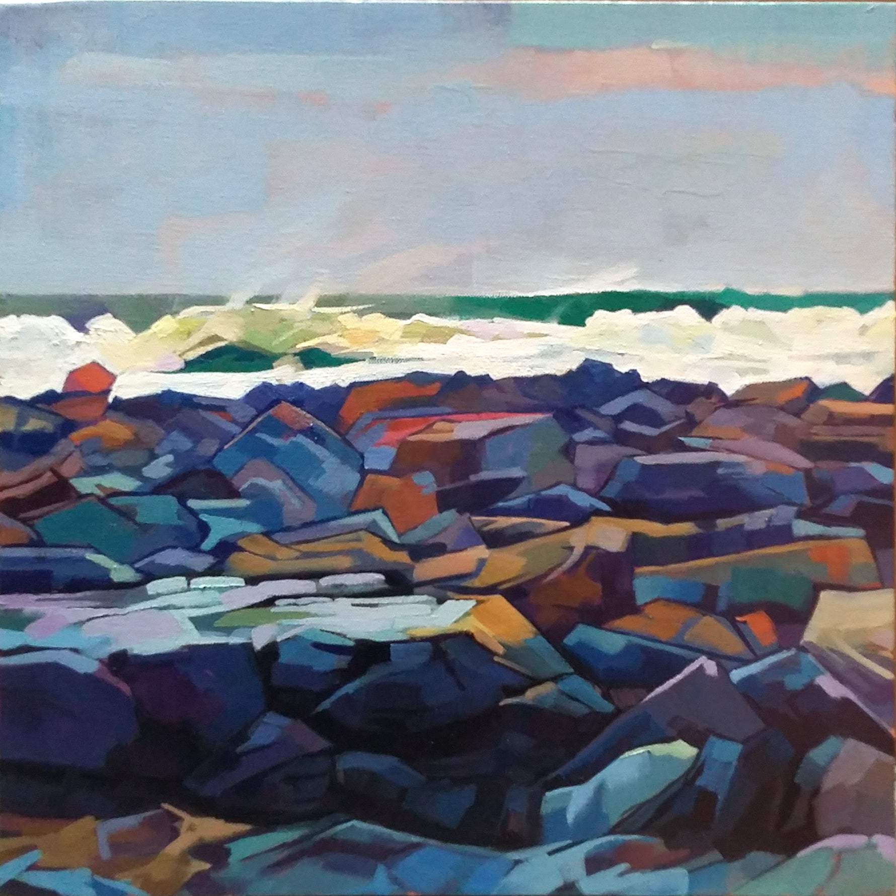 Tullaghan Shoreline, Storm Emma - Contemporary art from Ireland. Paintings & prints by Irish seascape & landscape artist Kevin Lowery.
