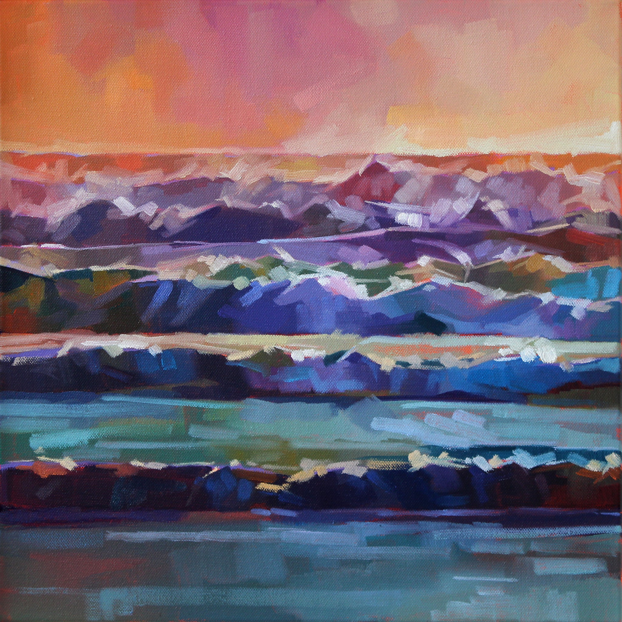 Whitewater At Rossnowlagh Beach II - Pack of 10 Greeting Cards - Contemporary art from Ireland. Paintings & prints by Irish seascape & landscape artist Kevin Lowery.