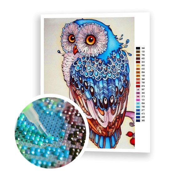 Blue Owl - Art of Diamond Painting