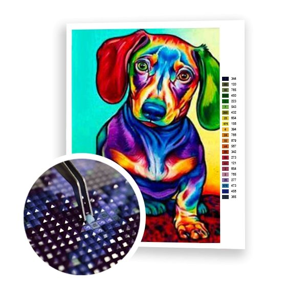 Colored Dachshund - Art of Diamond Painting