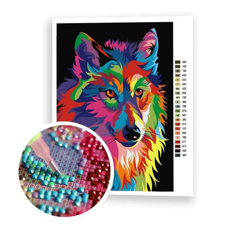 Colorful Wolf - Art of Diamond Painting
