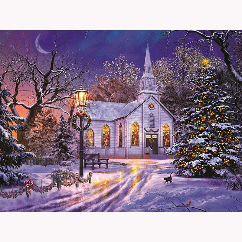 LED Christmas Church Diamond Painting - Art of Diamond Painting
