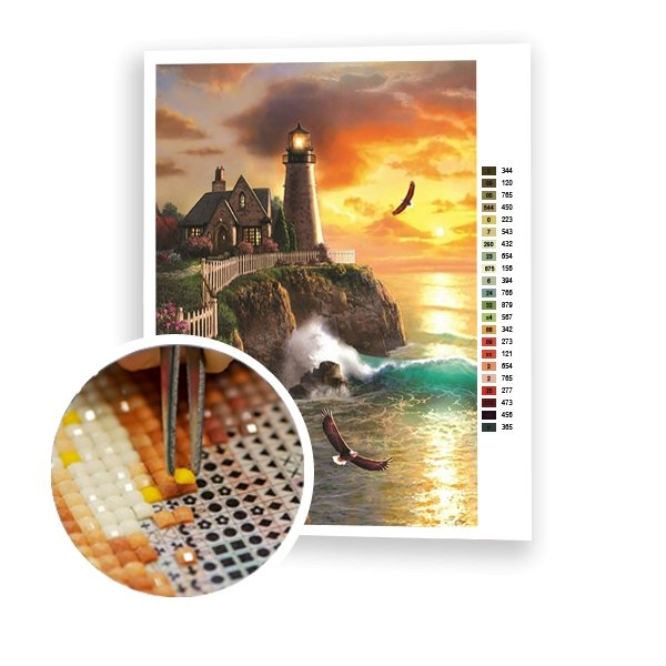 Lighthouse On The Cliff - Art of Diamond Painting