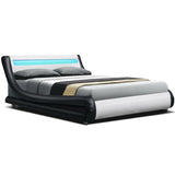 LED Bed Frame - Black and White Leather- Double
