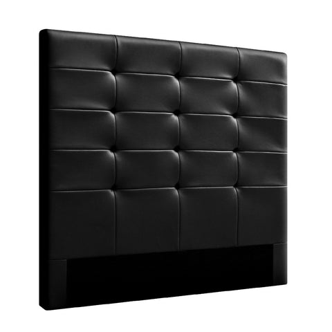 Leather Bed Head Board - Black - Double