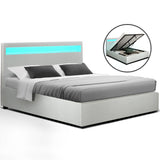 LED Bed Frame Gas Lift - White Leather- Double