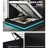 LED Bed Frame Gas Lift - Black Leather- Double