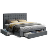 Bed Frame with 4 Storage Drawers- Grey - Queen