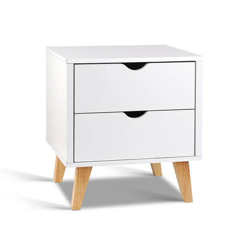 Double Drawer Wooden Bedside Table - White