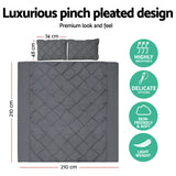 Giselle Bedding Diamond Pintuck Quilt Cover Set - Charcoal - Queen