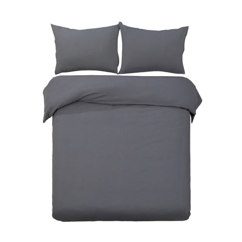 Giselle Bedding Classic Quilt Cover Set - Charcoal - Super King