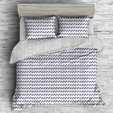 Giselle Bedding Reversible  Quilt Cover Set - Black and White Wave- King