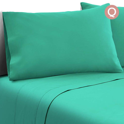 Giselle Bedding Soft Microfibre Bed Sheet Set - Aqua Blue - Queen
