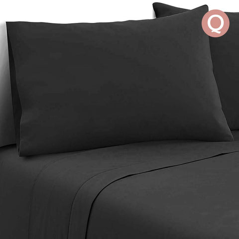 Giselle Bedding Soft Microfibre Bed Sheet Set - Black - Queen