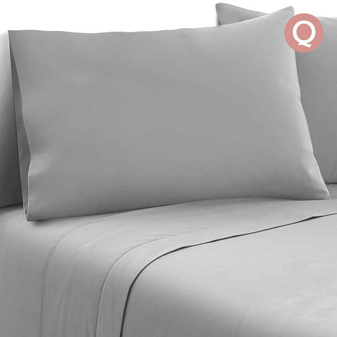 Giselle Bedding Soft Microfibre Bed Sheet Set - Grey - Queen