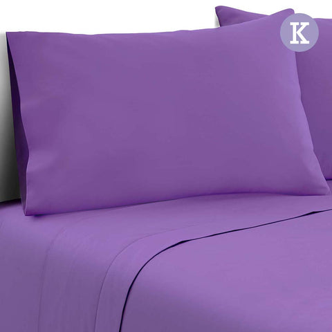 Giselle Bedding Soft Microfibre Bed Sheet Set - Purple - King