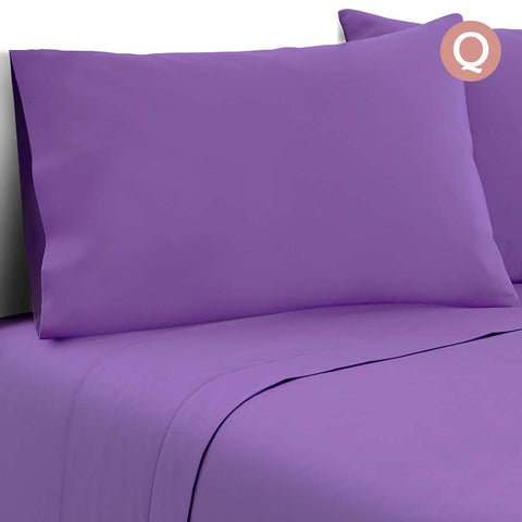 Giselle Bedding Soft Microfibre Bed Sheet Set - Purple - Queen