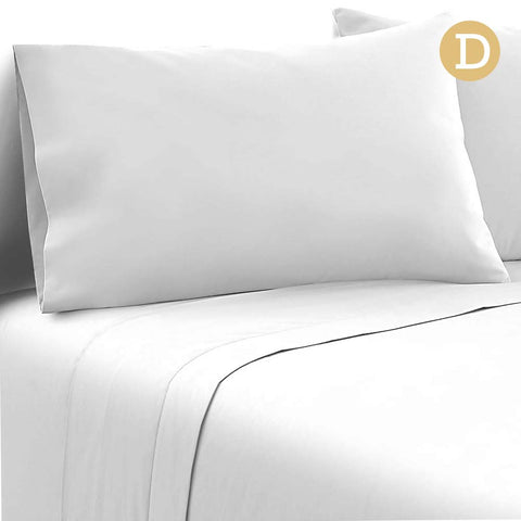 Giselle Bedding Soft Microfibre Bed Sheet Set - White - Double