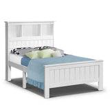 Kids Wooden Bed Frame with Shelves - White - Single