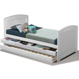 Kids Wooden Bed Frame with Trundle Bed - White - Single