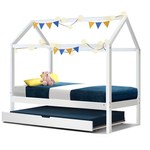 Kids Wooden House Bed Frame with Trundle - White - Single