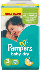 Pampers Baby-Dry - Taille 3 X136 MEGA CUBE