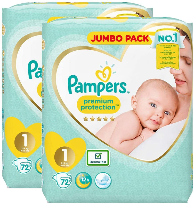 PACK x2 - Pampers New Baby - Taille 1 X72 - JUMBO PACK
