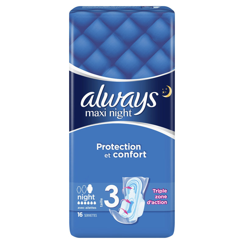 ALWAYS MAXI NIGHT PROTECTION ET CONFORT 16 SERVIETTES
