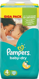Pampers Baby-Dry - Taille 4 X120 - GIGA CUBE