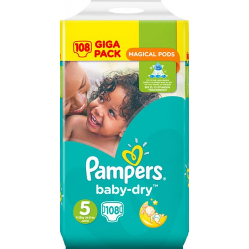 Pampers Baby-Dry - Taille 5 X108 - GIGA CUBE