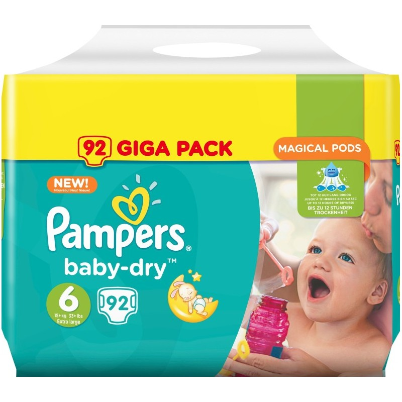 Pampers Baby-Dry - Taille 6 X92 - GIGA CUBE