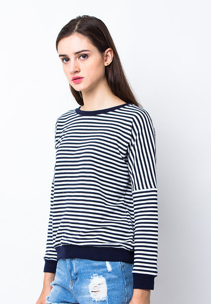 BLP-PA018/SWEATER-RFREYA-STRIPE-BLACKWHITE-F